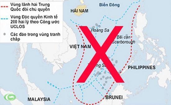 """Tuyên bố chủ quyền phi pháp """"đường lưỡi bò"""" do Trung Quốc tự ý vẽ, đòi hỏi với phần lớn diện tích Biển Đông đã bị Tòa trọng tài thường trực quốc tế bác bỏ ngày 12/7/2016."""