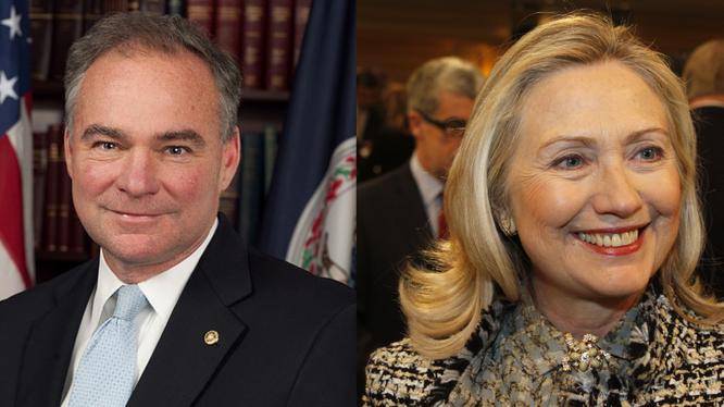 Ông Tim kaine và bà Hillary Clinton.