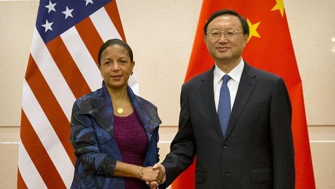 Cố vấn An ninh Quốc gia Mỹ Susan Rice gặp Ủy viên Quốc vụ Trung Quốc Dương Khiết Trì. (Nguồn: AFP).