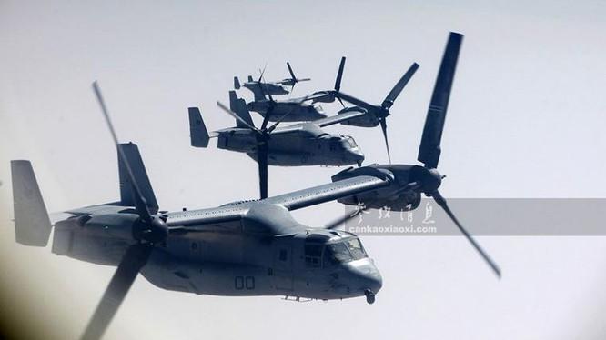 Máy bay vận tải cánh xoay nghiêng V-22 Osprey Mỹ. Ảnh: Tin tức Tham khảo, Trung Quốc.