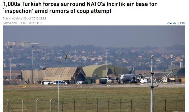 1000 binh sỹ Thổ Nhĩ Kỳ bao vây căn cứ Incirlik