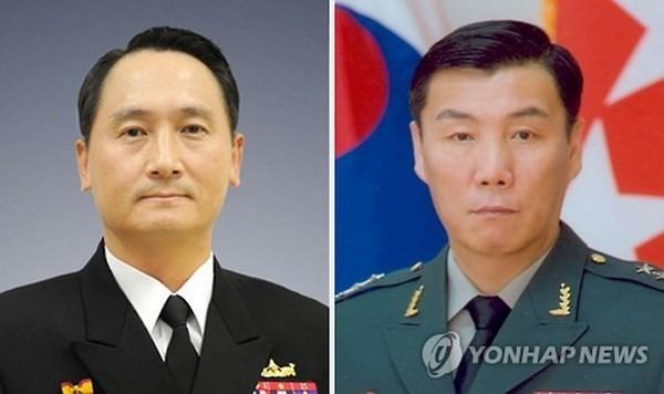 Phó Đô đốc Um Hyun-seong (trái) và Trung tướng Leem Ho-young. (Nguồn: Yonhap).