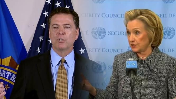 FBI lại bất ngờ tung tin: Không phát hiện vi phạm hình sự trong email của bà Hillary Clinton. (Ảnh: Giám đốc FBI James Comey bên trái và bà Hillary Clinton).