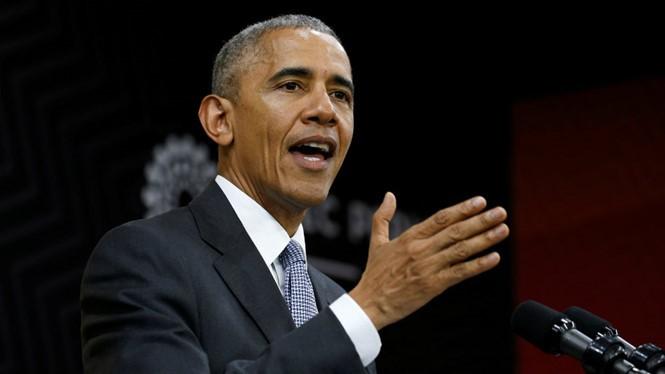 Ông Barack Obama phát biểu trong cuộc họp báo tại hội nghị thượng đỉnh APEC ở thủ đô Lima, Peru ngày 20.11.2016. Đây là lần cuối cùng ông phát biểu trên cương vị tổng thống Mỹ tại APEC