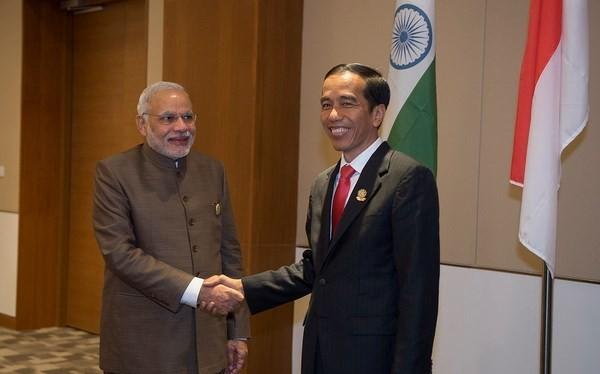 Tổng thống Indonesia Joko Widodo và Thủ tướng Ấn Độ Narendra Modi. (Nguồn: Berita Daerah)