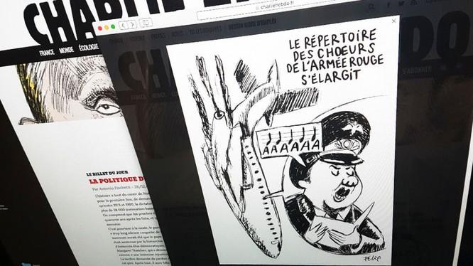 Nga dọa sẽ cáo buộc hình sự với biếm họa của Charlie Hebdo về tai nạn Tu-154 (ảnh biếm họa, nguồn Sputnik)