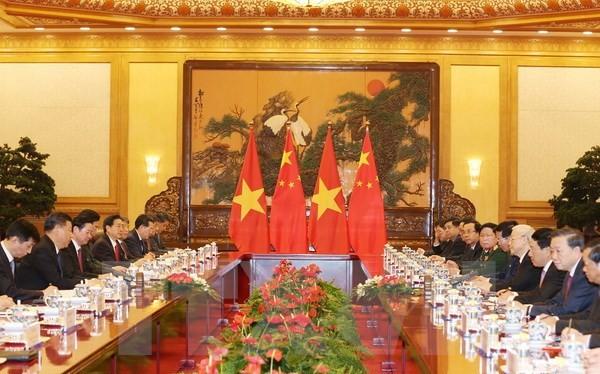 Tổng Bí thư Nguyễn Phú Trọng hội đàm với Tổng Bí thư, Chủ tịch nước Trung Quốc Tập Cận Bình. (Ảnh: Trí Dũng/TTXVN)
