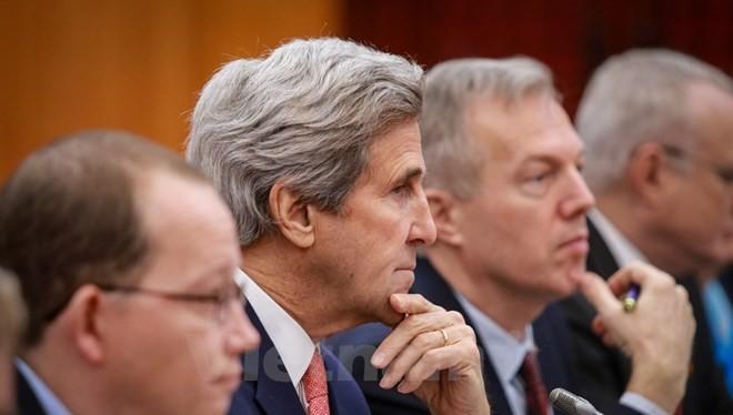 Ngoại trưởng Mỹ John Kerry tại Hà Nội. (Ảnh: Minh Sơn/TTXVN)