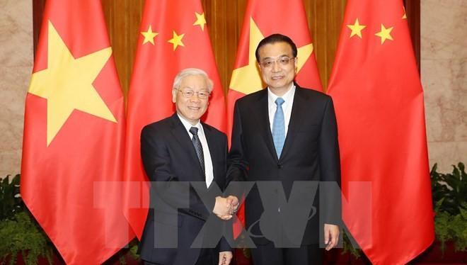 Tổng Bí thư Nguyễn Phú Trọng hội kiến với Ủy viên Thường vụ Bộ Chính trị, Thủ tướng Quốc vụ viện Trung Quốc Lý Khắc Cường. (Ảnh: Trí Dũng/TTXVN)