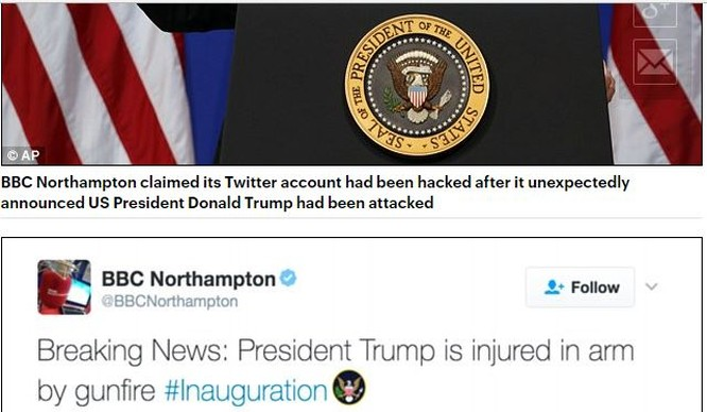 Tài khoản Twitter của BBC bị hack, post nội dung ông Trump bị bắn vào tay và xin lỗi độc giả ngay sau đó.