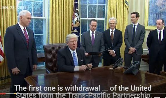 Tổng thống Mỹ Trump thẳng tay ký sắc lệnh rút khỏi Hiệp định TPP