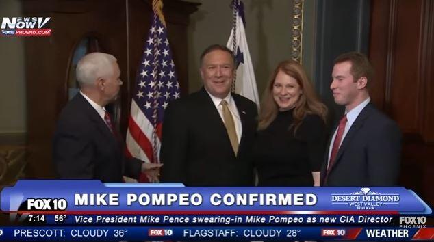 Ông Mike Pompeo lúc chuẩn bị tuyên thệ, nhậm chức Giám đốc CIA