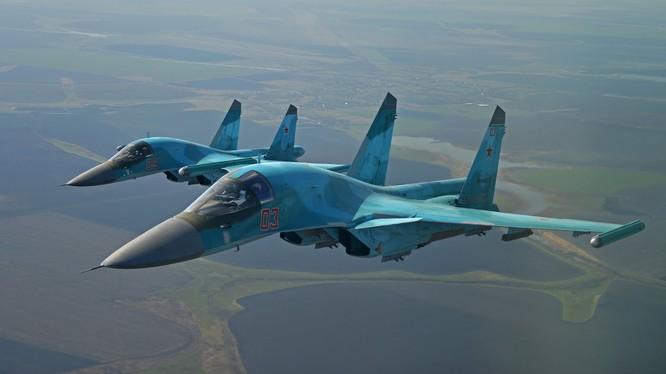 Không quân vũ trụ Nga tập phản kích không kích giả định quy mô lớn ở Moscow (ảnh minh họa, chiến cơ Su-34)