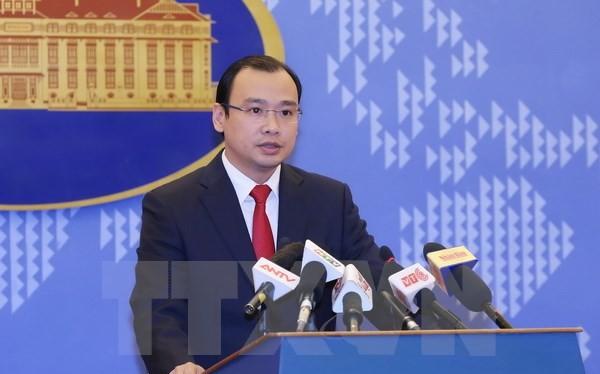 Người phát ngôn Bộ Ngoại giao Lê Hải Bình phát biểu tại buổi họp báo. (Ảnh: Phạm Kiên/TTXVN).