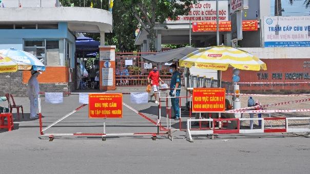 Bệnh viện quận Tân Phú phong tỏa vào ngày 28/5. Ảnh: HCDC