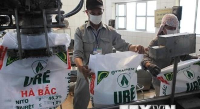 Đóng gói sản phẩm phân đạm urê tại Nhà máy Phân đạm và Hóa chất Hà Bắc