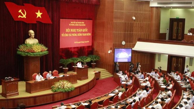 Hội nghị toàn quốc về công tác phòng chống tham nhũng diễn ra trong năm 2014 do Tổng Bí thư Nguyễn Phú Trọng chủ trì