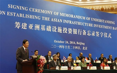 Lễ ký kết thỏa thuận thành lập Ngân hàng Đầu tư hạ tầng châu Á (AIIB) tại Bắc Kinh, Trung Quốc tháng 10/2014