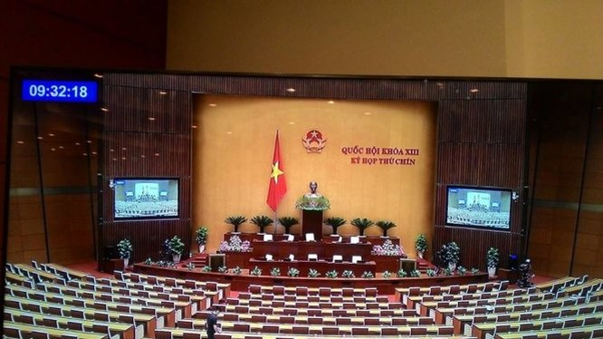 Hội trường Quốc hội lúc 9g32 sáng nay. Ảnh chụp từ màn hình trực tiếp, tại trung tâm báo chí Quốc hội