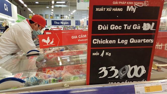 Đùi gà đông lạnh xuất xứ từ Mỹ bán với giá 33.000 đồng/kg ở siêu thị Metro Q.2, TP.HCM chiều 29-7