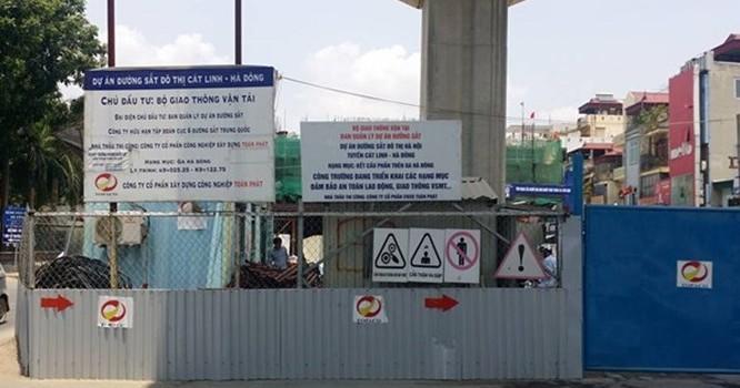 Khu vực xảy ra sự cố sáng 25/8 tại dự án đường sắt trên cao tuyến Cát Linh - Hà Đông