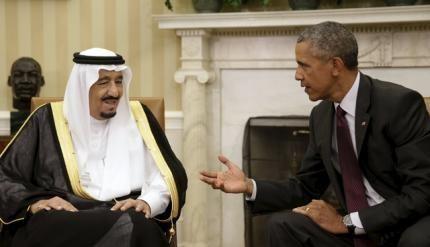 Vua Salman bin Abdulaziz Al Saud gặp Tổng thống Mỹ Barack Obama. Ảnh: Reuters