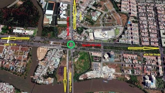 Nút giao thông sẽ xây dựng hệ thống hầm chui và đảo tròn. (Ảnh: Google Earth)