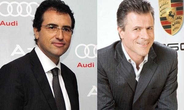 Ông Laurent Genet, Tổng giám đốc Audi Việt Nam (trái) và ông Andreas Klingler, Tổng giám đốc Porsche Việt Nam (phải)