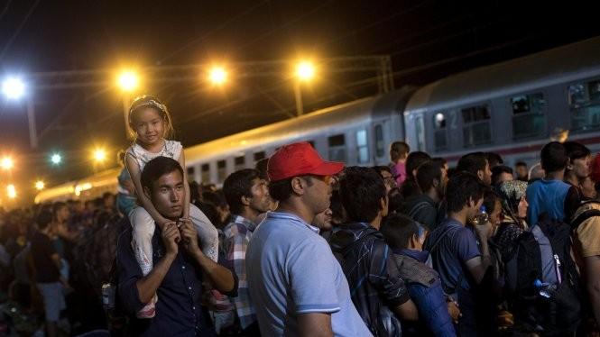 Người di cư chờ để được lên tàu tại Tovarnik, Croatia ngày 19-9 (Reuters)