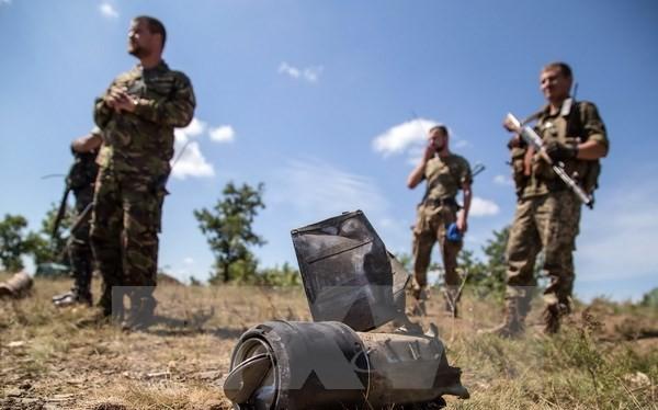 Binh sỹ Ukraine tuần tra tại làng Troitske,vùng Lugansk, miền Đông Ukraine ngày 20/8. (Nguồn: AFP/TTXVN)