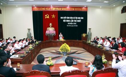 Quang cảnh Hội nghị lần thứ nhất Ban chấp hành Đảng bộ tỉnh Ninh Bình khóa XXI.
