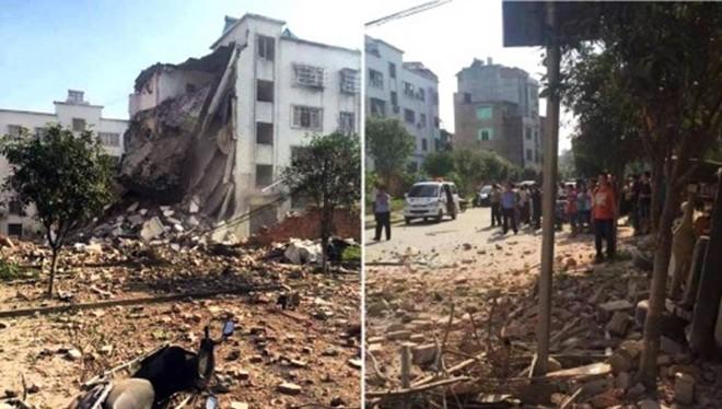 Nhiều vụ nổ chiều nay xảy ra ở một số địa điểm thuộc huyện Liễu Thành, tỉnh Quảng Tây, Trung Quốc, làm ít nhất 6 người chết và hàng chục người bị thương. Vụ nổ xảy ra một ngày trước quốc khánh Trung Quốc. Ảnh: CCTV