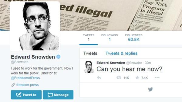 Edward Snowden lên Twitter thách thức an ninh Mỹ