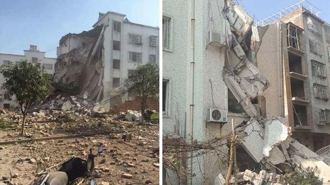 Thêm một vụ nổ nữa xảy ra vào sáng ngày 1.10 tại Quảng Tây, sau khi đã có 17 vụ nổ liên tiếp hôm trước. Trong ảnh bên trái là toà nhà 6 tầng bị phá huỷ do vụ nổ sáng 1.10, bên phải là một toà nhà bị chất nổ làm hư hại chiều 30.9 - Ảnh: Weibo