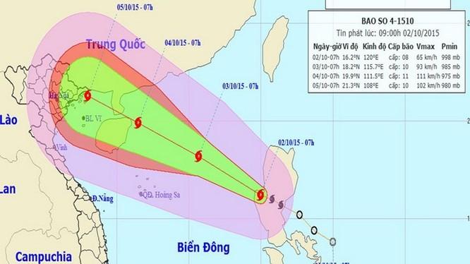 Dự báo đường đi của bão số 4, cập nhật lúc 9 giờ ngày 2.10 - Trung tâm Dự báo khí tượng thủy văn T.Ư