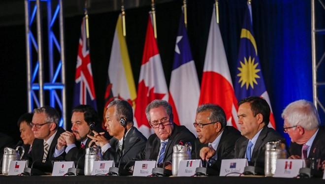 Đại diện các nước tham gia buổi thông báo vòng đàm phán TPP đã đạt được thỏa thuận cuối cùng ở Atlanta.