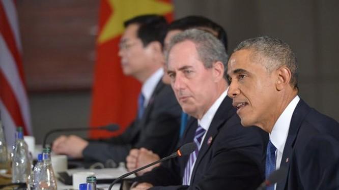Tổng thống Mỹ Barack Obama phát biểu trước các đối tác tham gia TPP tại Toà đại sứ Mỹ ở Bắc Kinh ngày 10.11.2014 - Ảnh: AFP