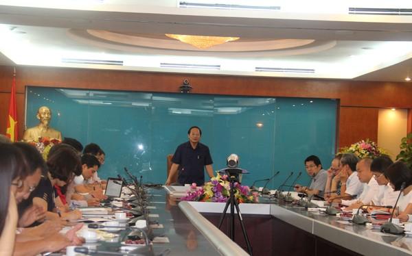 Thứ trưởng Trương Minh Tuấn phát biểu tại buổi họp Giao ban