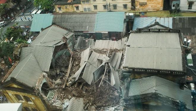 Hiện trường vụ sập biệt thự cổ tại số 107 đường Trần Hưng Đạo (Hà Nội) vào ngày 22-9 - Ảnh: Nguyễn Khánh