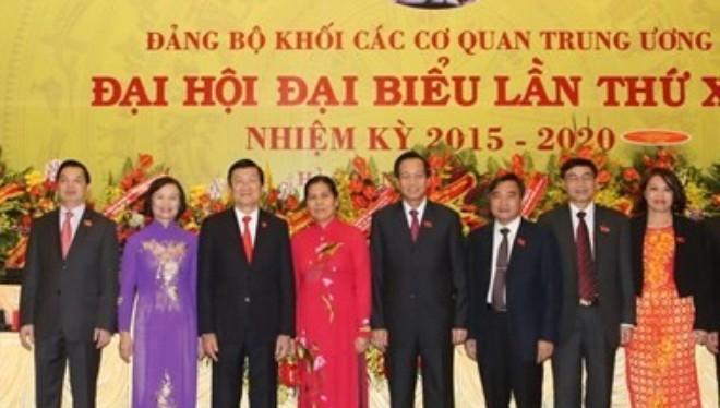 Chủ tịch nước Trương Tấn Sang với các đại biểu dự Đại hội. (Ảnh: Nguyễn Khang/TTXVN)