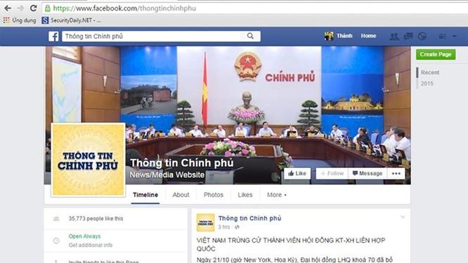 Một ngày ra mắt, đã có hơn 35.000 người 'thích' trang thông tin Chính phủ trên Facebook