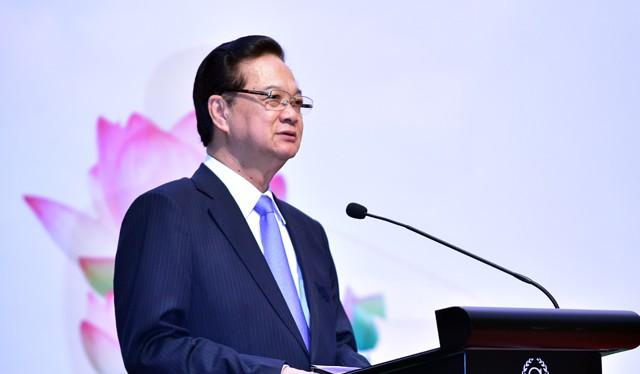 Thủ tướng Nguyễn Tấn Dũng phát biểu tại Lễ khai mạc Hội nghị Bộ trưởng Môi trường ASEAN lần thứ 13 (AMME 13), Hội nghị Bộ trưởng Môi trường ASEAN+3 lần thứ 14. Ảnh: VGP/Nhật Bắc.