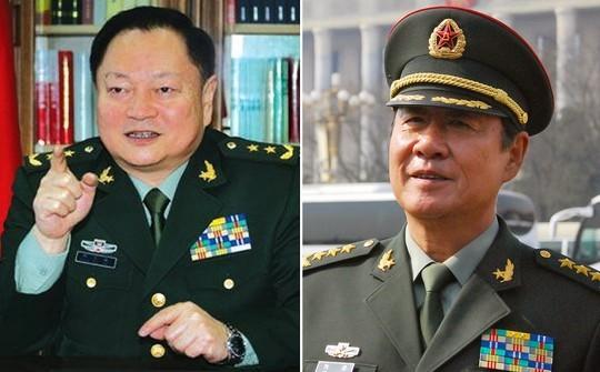 Chủ nhiệm Tổng cục Trang bị Trương Hựu Hiệp (trái) và Chính ủy Tổng cục Hậu cần Lưu Nguyên Ảnh: SCMP
