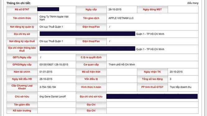 Thông tin về việc Apple đăng ký công ty tại Việt Nam - Ảnh chụp màn hình