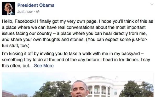 Bài đăng đầu tiên trên Facebook chính thức của Tổng thống Barack Obama. Ảnh chụp màn hình