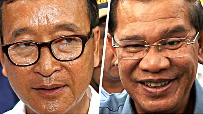 Thủ lĩnh đảng đối lập Campuchia (trái) kêu gọi quốc tế giám sát ông Hun Sen (phải) - Ảnh: AFP