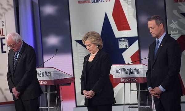 3 ứng cử viên đảng dân chủ dành một phút mật niệm cho các nạn nhân khủng bố ở Paris
