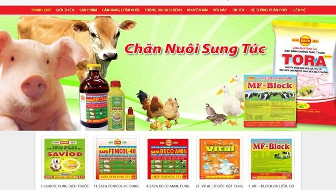 Các sản phẩm của Công ty thuốc thú y SAFA-VEDIC - Ảnh: chụp từ website