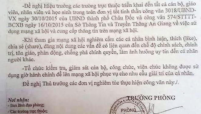 Công văn của Phòng Giáo dục và Đào tạo TP Châu Đốc, An Giang. Ảnh: CTV