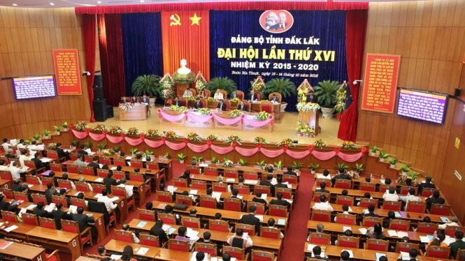 Đại hội đại biểu Đảng bộ tỉnh Đắk Lắk lần thứ XVI nhiệm kỳ 2015-2020 giữa tháng 10-2015 - Ảnh: Hà Bình